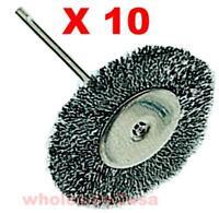 "10 Steel Wheel Wire Brushes Arbor for Dremel - 1 1/2"""