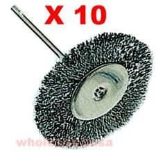 10 Steel Wheel Wire Brushes Arbor for Dremel - 1 1/2""