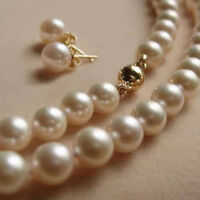 New 8MM White Akoya shell Pearl Necklace + Earring AAA 18""