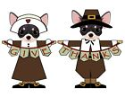 """Black Chihuahua Give-Thanks Thanksgiving 7"""" Magnet Set (set of 2)"""