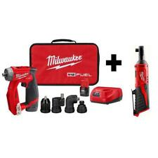 Milwaukee Drill Driver Kit 2-V Li-Ion Brushless Cordless 4-in-1 3/8 in. Ratchet