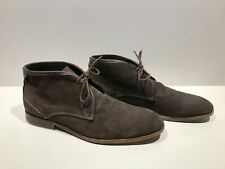 Men's H BY HUDSON dark brown leather/suede chukka boots shoes sz. 43