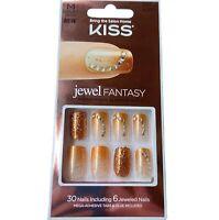 NEW Kiss Nails Jewel Fantasy Press or Glue Manicure Medium Gel Copper Gold Gems