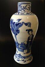 Antique Kangxi Chinese Blue and White Baluster Vase, 4 Character Marks to Base