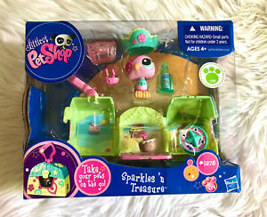New LITTLEST PET SHOP Sparkles N Treasure #1875 Pink Parrot Bird Box Set 2010
