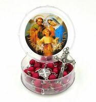 Red Jerusalem Rosary Beads Cross Catholic Holy land Necklace Rose  Blessed Gift