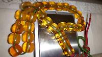 Aged Collectible German Bakelite Amber Kehribar Islamic Prayer Rosary Tesbih 45G