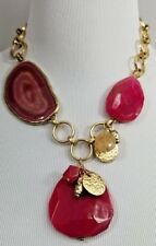 CHICO'S GOLD-TONE AND PINK STONE BIB NECKLACE