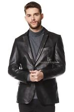 Mens Leather BLAZER BlackClassic ITALIAN Tailored Soft REAL LEATHER