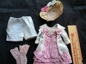 """4 1/2 """"   dress /hat for small Antique, French, German doll"""