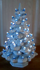 Vintage Style New Pale Blue with Snow Holland Ceramic Christmas Tree with Ring