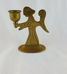 Brass Angel Candle Holder Wings Taper Christmas Hanukkah