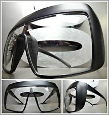 EXAGGERATED OVERSIZED SHIELD Clear Lens EYE GLASSES XL Matte Black Fashion Frame