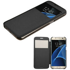 FOR SAMSUNG GALAXY S7 EDGE FOLIO FLIP POUCH CASE W/ VIEWING WINDOW COVER BLACK