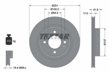 2x Bremsscheibe TEXTAR 92278003 vorne für MITSUBISHI