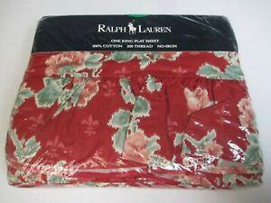 New Ralph Lauren Bedding ELENA Red Floral Ruffled Flat Sheet - King