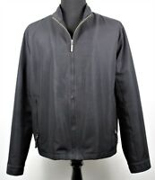 Geoffrey Beene XL Mens Black Zip Front Long Sleeve 100% Polyester Bomber Jacket