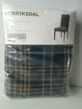 "Set of 2 IKEA  Chair Slipcover Blue Plaid Cover 21"" Henriksdal Rutna NEW"