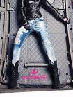 Foggi Jeans da donna Boyfriend skinny strappato Pantaloni Blu XS-M