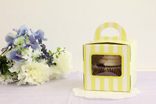 5x Bakery Box Gift Boxes Cupcake Pastry Muffin Treats, Green/White Stripe 4x4x4