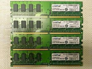 4GB SET - CRUCIAL 1GB X 4 PC2-5300U DDR2 DESKTOP MEMORY RAM - 4 PIECES @ 1GB EA