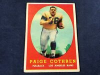 L4-89 FOOTBALL CARD - PAIGE COTHREN LOS ANGELES RAMS - 1958 TOPPS - CARD #92