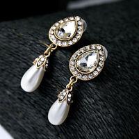 Earrings Clips Pendant Golden Pearl Drop Class Marriage YW8