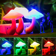 Colorful Energy Saving Mushroom LED Night Light Sensor Control Lamp Bedside Wall