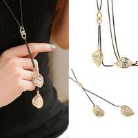 Gift Chain Pendant Necklace Jewelry Sweater Leaf Long Rhinestone Fashion Women's