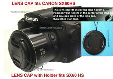 FRONT LENS CAP DIRECTLY to CAMERA CANON POWERSHOT SX-60HS SX60HS SX60 HS +HOLDER