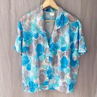 *VINTAGE* Blue Multi Floral Retro SIZE 22 UK Short Sleeve Blouse V1