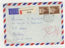 Suisse Helvetia 2 timbres sur lettre R 1971 tampon Genève La Cluse Abidjan/ L473