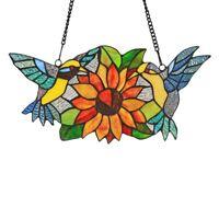 Glass Window Panel Tiffany Suncatcher Bird Sunflower Style SunShine Window Decor