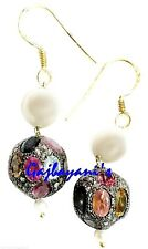 Exquisite Pave Rose Cut Diamond,Tourmaline Studded Silver Beads & Pearl Earring