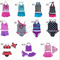 Kids Girls Two Piece Halter Tankini Set Swimwear Bikini Swimsuit Bathing Suit