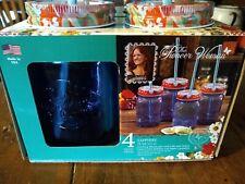 4 Pioneer Woman Sapphire Drinking Mason Jars with Lids & Straws 16 oz
