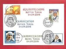 FDC + SSt Komb Heiligsprechung Mutter Teresa Vatican + Österreich + personalisie