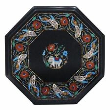 "15"" Marble corner end table Top semi precious stones inlay  handmade art"