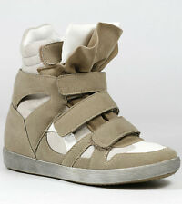 TAUPE BEIGE HIGH TOP FASHION SNEAKERS WEDGE ANKLE BOOT BOOTIE 8.5 US WILD DIVA