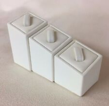 Set of 3 Ring Stands (Square Cream) Jewellery Displays (3cm, 4cm & 5cm Height)