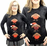 Ladies Fluffy Soft Furry Mohair Knitted Cropped Christmas Jumper Warm Tops Dress