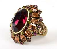 Heidi Daus Ring Size 7 Faceted Oval Crystal Domed Statement Cocktail Signed