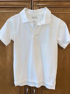 """EC Boys M 8 white cotton polo S/S top shirt school Uniform 20/21"""" L chest 30"""""""
