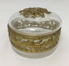ANTIQUE CRYSTAL GLASS DRESSER JAR ROUND BOX DORE BRONZE ORMOLU MUSIC MANDOLIN