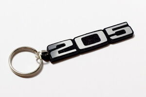 Peugeot 205 Keyring - Brushed Chrome Effect Classic Car Keytag / Keyfob