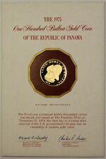 1975 Panama 100 Balboa PROOF Gold Coin, BRILLIANT IN CASE Vasco Nunez de Balboa