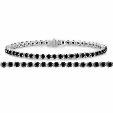 4.70 Carat Enhanced Black Diamond Tennis Bracelet 3 Prong Martini 14k White Gold
