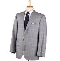 NWT $2195 CANALI Regular-Fit Light Gray Glen Check Wool Suit 38 R (Eu 48)
