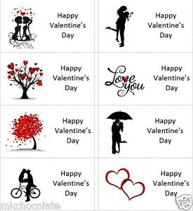 40x Happy Valentines Day SIL labels/stickers cakes/sweets/gift bags/presents