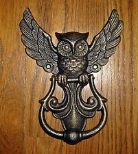 Decorative Cast Iron OWL DOOR KNOCKER with SPREAD OPEN WINGS